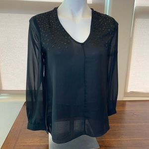 Banana Republic Long Sleeve Sequin Sheer Black Top